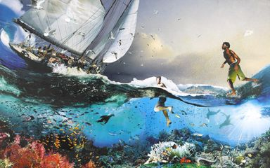 David Mach, Jesus Walking on Water - Cape Town, Mixed Media, 258x166 cm. Courtesy of the Artist and Dadiani Fine Art.