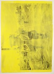 David Thomas Impermanences / Light Yellow / London Waterloo Bridge, Illusion + Real, 2015 Pencil, acrylic, and photocopy on paper 46.5 x 32 inches / 118 x 81 cm
