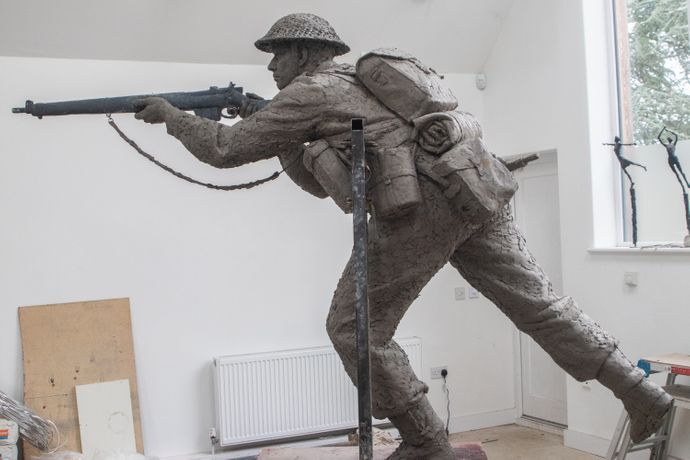 David Williams-Ellis, D-Day Sculpture (detail), Normandy Memorial Trust commission in bronze, 2019. Courtesy of the artist and the Normandy Memorial Trust