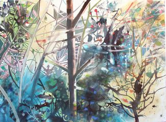David Wiseman  Woodland Life - Distant Water  acrylic on canvas