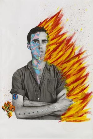 David Wojnarowicz with Tom Warren, Self-Portrait of David Wojnarowicz, 1983–84. Acrylic and collaged paper on gelatin silver print, 60 × 40 in. (152.4 × 101.6 cm). Collection of Brooke Garber Neidich and Daniel Neidich