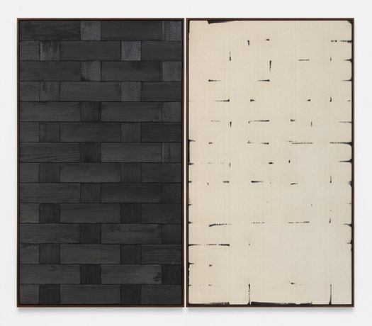 Davide Baula, Burnt Painting, Imprint of the Burnt Painting (B -—-—), 2015 Charred wood, coal dust on linen. Courtesy the Artist and Alison Jacques Gallery.