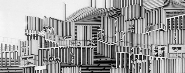Deanna Petherbridge, Continuum City, 1978 Pen and ink on paper, the Whitworth collection