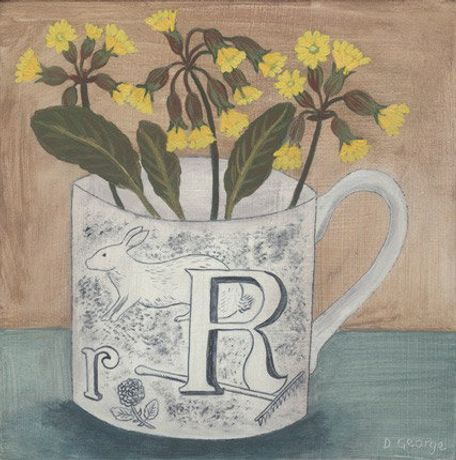 Alphabet Cup & Cowslip, Acrylic on Gesso by Debbie George