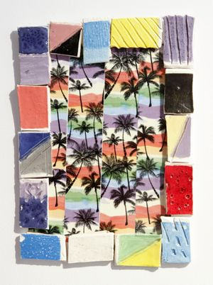 Denise Treizman  Another Day in Paradise, 2015  Duct tape, ceramic tiles  14 x 10 inches