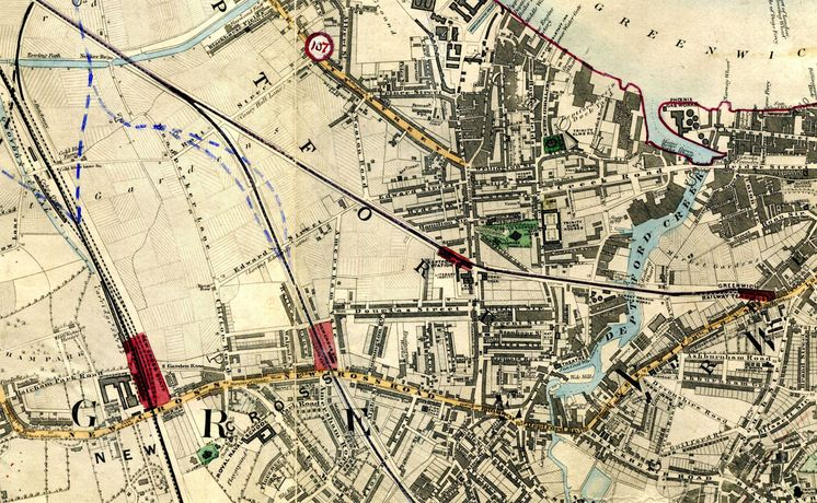 Stanford's Library Map Of London & Its Suburbs 1864 Showing Proposed Metropolitan Railways & Improvements