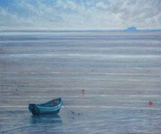 Fishing Coble At Holy Island 36 x 30. Oil on Canvas.