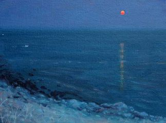 Moonrise Off Algarve Coast Oil on Canvas. 16 x 12
