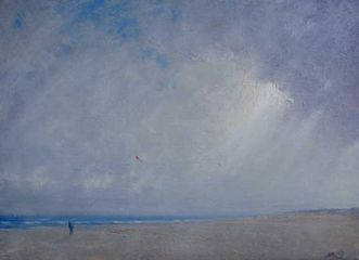 Kite Flyer On Holkham Beach Oil on Canvas. 22 x 16