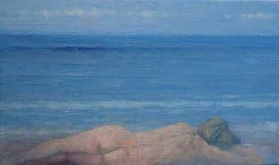 Girl On The Beach Oil on Canvas. 20 x 12