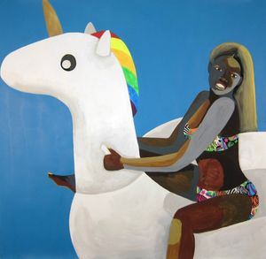Derrick Adams   Floater No. 28 (unicorn)   2016 Acrylic paint and fabric collage on paper   127 x 127 cm / 50 x 50 in