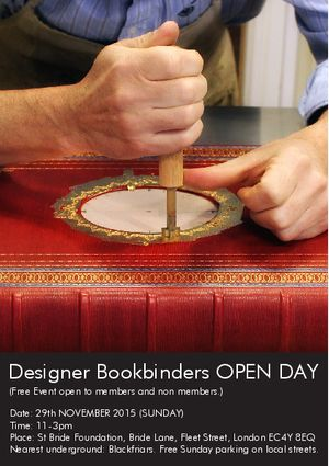 Designer Bookbinders Open Day. A Full Day of Bookbinding Workshops and Demonstrations