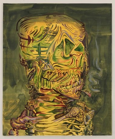 "James Esber, Untitled (Smoking Skeleton),"" 2015, Watercolor and acrylic on paper, 17 x 14 inches"