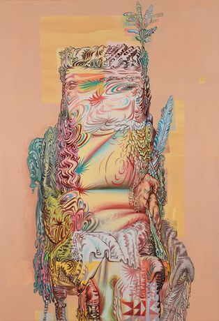 "James Esber, ""Beige Indian,"" 2015, Acrylic on PVC panel, 54 x 37 inches"