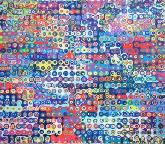Phil Dobson_ Medium Crowd, Acrylic on canvas on board, 50cm x 58 cm