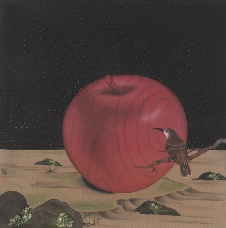 Zhang Sunzhe Fruit Love   Chinese ink painting on silk roll, 50x50cm