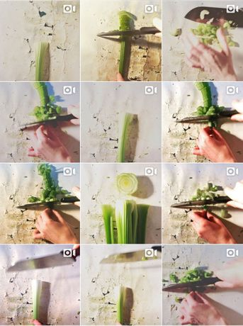 Zara Worth, A Drawing Made by Cutting Up My Body Weight in Celery, 2016-present, Instagram video posts. Image courtesy of Vane