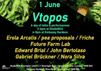 Vtopos: A series of talks about public space-gardens and urban agriculture featuring pea proposals, Friche, Futur Farm Lab, Platform Desayuno and Agreocology- Wednesday 1 June-VTOPOS Lecture Series @ StudioRCA Riverlight, One Riverlight Quay, Nine Elms Lane, London SW8 5A