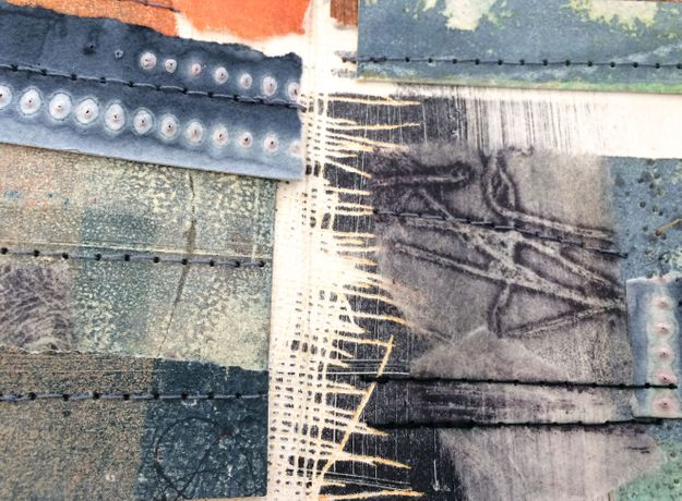 Sally Tyrie: Close of the Day (detail) mixed media art book work 9 x 9cm