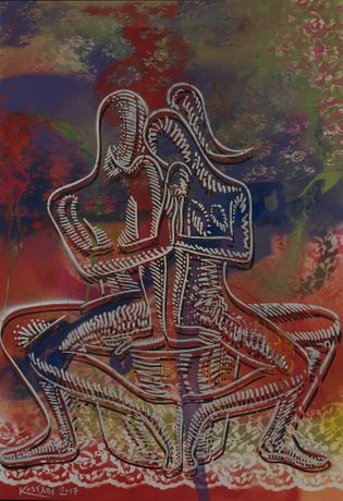 Mark Kostabi, Spring Awakening, mixed media on paper, 44 x 301/2 inches