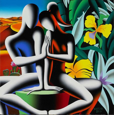 Mark Kostabi, Eternal Now, oil on canvas, 20 x 19 3/4 inches