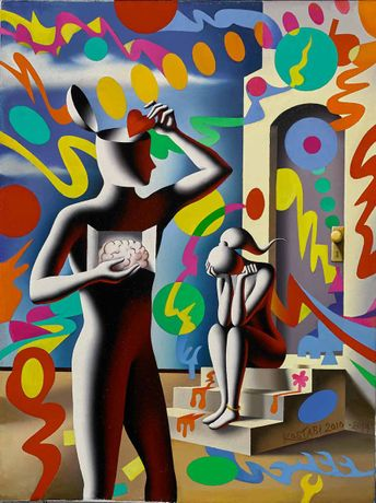 Mark Kostabi, The Heart that Rules the Head, oil on canvas, 23 3/4 x 18 inches
