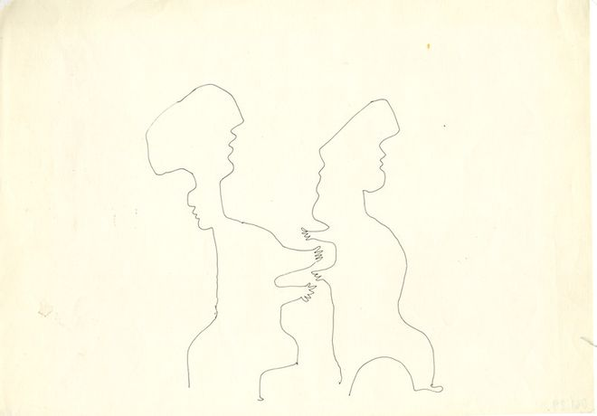 Franciszka Themerson, [Traces] Two Figures with Outstretched Arms