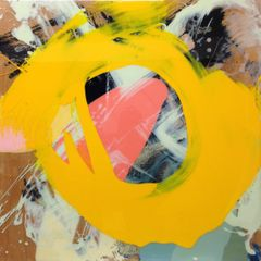 Loukas Morley, Stratum Journey 5 (yellow circle), spirit based pigment, resin, on birch ply board, 2014