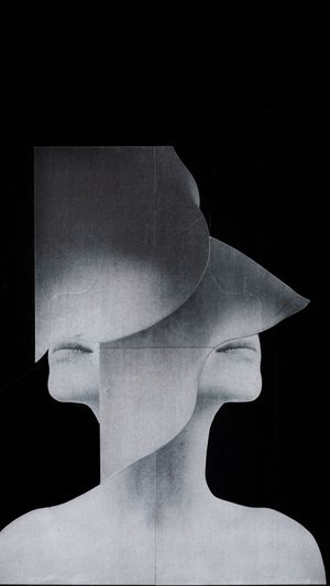 "Jesse Draxler, ""Untitled"", mixed media collage on panel, 28x35cm"
