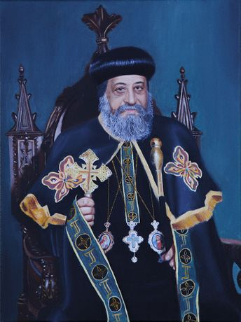 H.H. Pope Tawadros II - 2016 - Oil on linen - 40 x 30 cm. - The Coptic Orthodox Cultural Center, Cairo (Egypt)