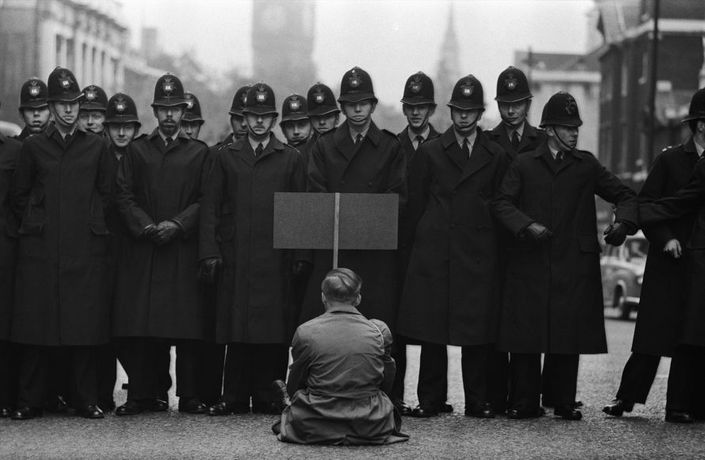 Protester, Cuban Missile Crisis, Whitehall, London, 1962   Gelatin silver print; printed later   13 1/2 x 20 5/8 inches