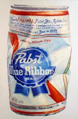 Don Nice (b. 1932)  PABST BLUE RIBBON, 2015  Oil on canvas, 60 x 40 inches