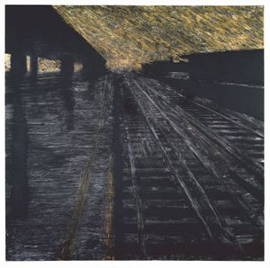 Herndon Railway, 18 August 1988, Latex and tar on canvas, 96 x 96 in. © the artist, Courtesy Huxley-Parlour Gallery