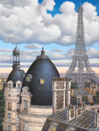 Liudmila Kondakova, Rooftops with Eiffel Tower, acrylic on canvas, 16 x 12 inches copy
