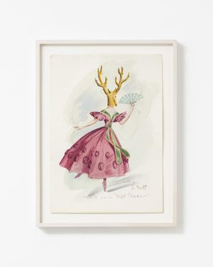 DOROTHEA TANNING COSTUME FOR NIGHT SHADOW: A GUEST, 1945 WATERCOLOUR AND WASH ON PAPER 35.3 X 25.1 CM, 13 7/8 X 9 7/8 INS 41.8 X 31.4 CM, 16 1/2 X 12 3/8 INS FRAMED