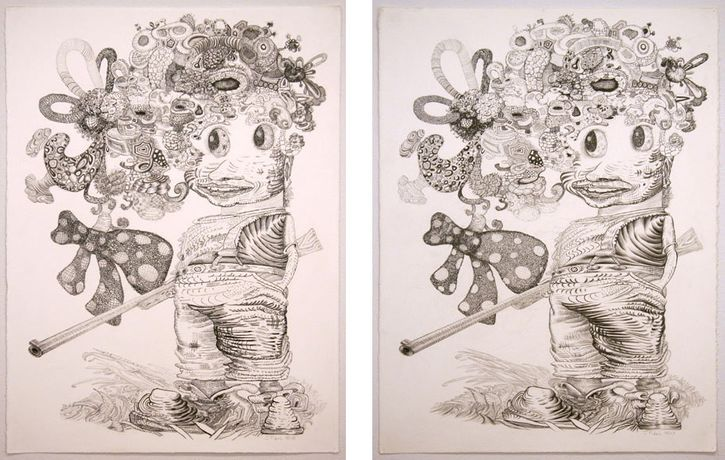 J. Fiber, He Said She Said, 2008, Graphite on paper, 30 x 22 inches (each panel)