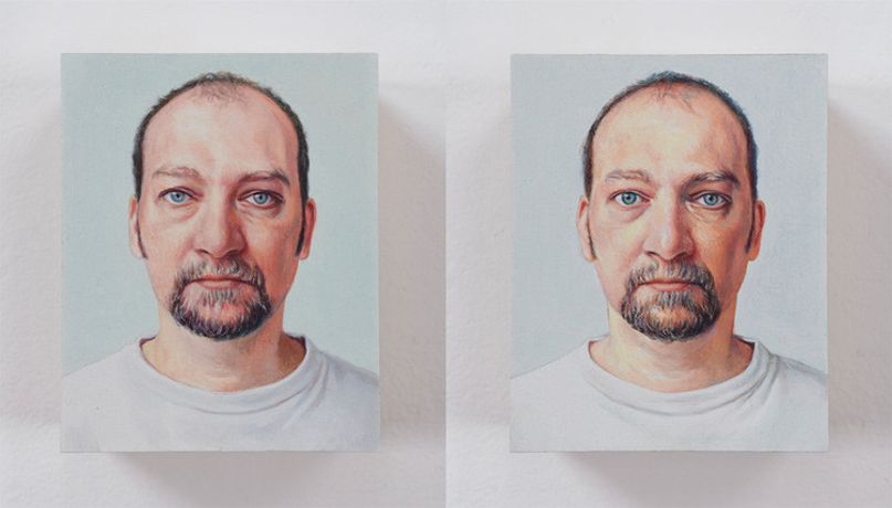 Jim Torok, Self Portrait, 2004, Oil on polymer resin, 2.5 x 1.5 inches (each panel)