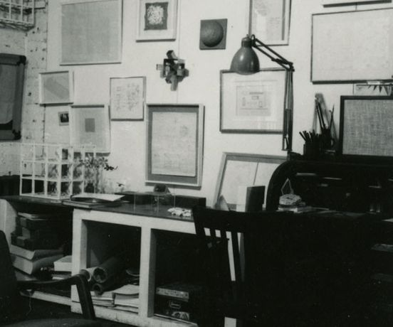 Photograph of Sol LeWitt's loft, 117 Hester Street, New York, 1968. Black-and-white photograph. 3 1/2 x 3 1/2 inches. LeWitt Collection, Chester, CT.