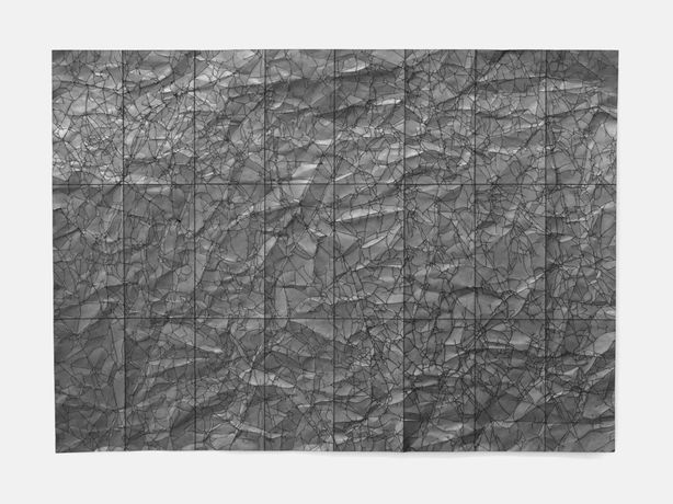 Image: Rachel Bacon – Emotional Landscape, 2016, graphite on crumpled paper, 48 x 64 cm (shortlisted for Jerwood Drawing Prize 2016)
