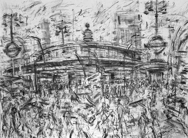 Jeanette Barnes - Southgate Tube Station Charcoal on paper, 114 x 149 cm
