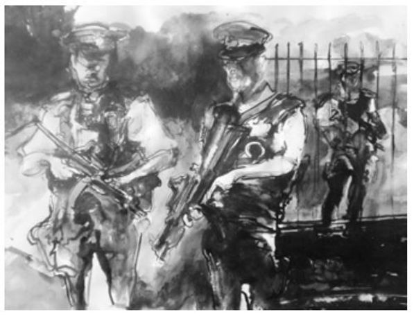Paul Brandford - Cops with Guns Charcoal on paper 57 x 57 cm
