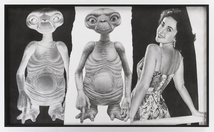 Karl Haendel E.T./E.T./Elizabeth Taylor, 2018 Pencil on paper 52 ½ by 87 ¾ inches Courtesy the artist and Mitchell-Innes & Nash, New York