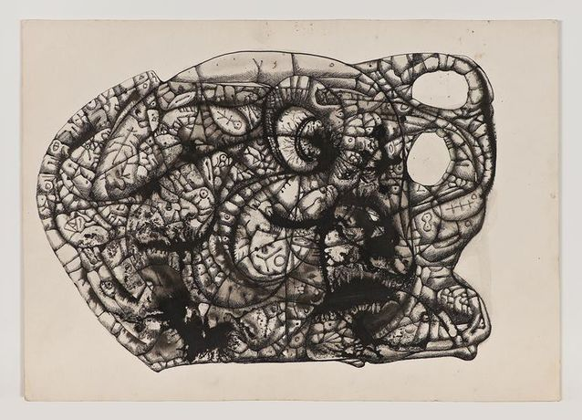 LEE MULLICAN Untitled  1945 Ink on board 8 7/8 x 11 1/8 in.
