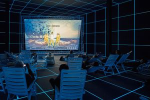 Hito Steyerl (b. 1966), Installation view of Factory of the Sun, 2015 (German Pavilion, 56th Venice Biennale, 2015).