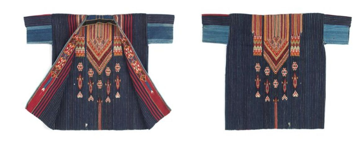 Artists unknown (Bedouin peoples, Damascus, Ottoman Syria) Man's coat (damir), late-19th to early 20th century Wool, cotton, metallic thread Weft-faced weave, slit tapestry technique, hand sewn Promised gift of David and Elizabeth Reisbord (L2017.74.2)