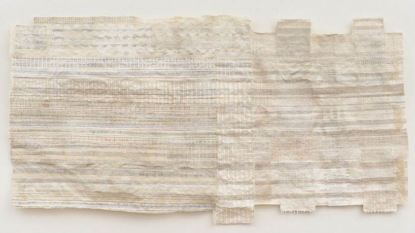 Drew Shiflett,  Untitled #70, 2014, watercolor, graphite, cheesecloth, handmade paper, 41.75 x 79 x 2.25 inches