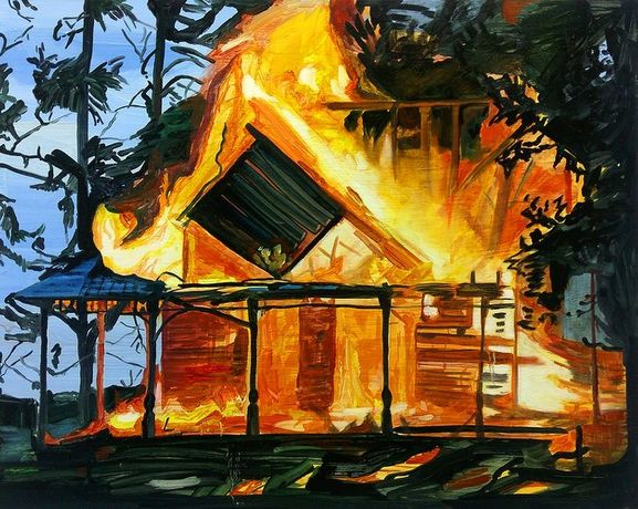 Sombody's house in burning down, 55 x 70cm, oil on board, 2016