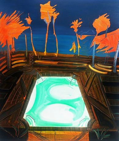 Neon Palms, 60 x 70cm, oil on board,2017