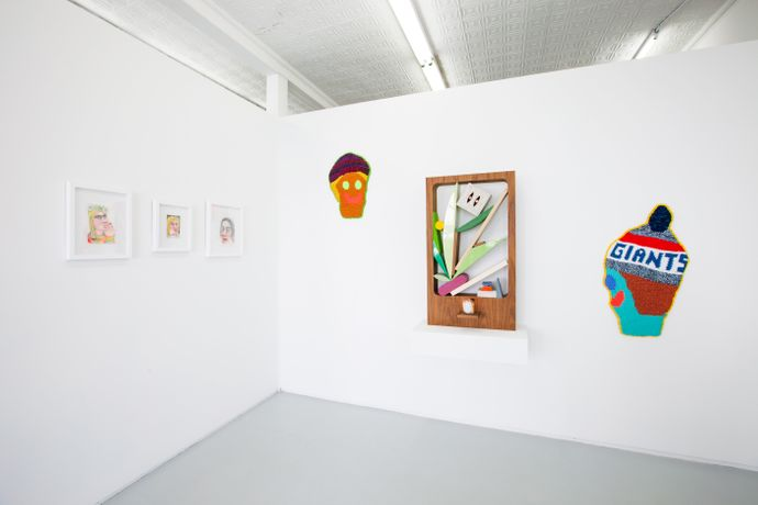 Installation view of Dutch Masters, (pictured left to right) Rebecca Morgan, Caroline Wells Chandler and Chris Bogia
