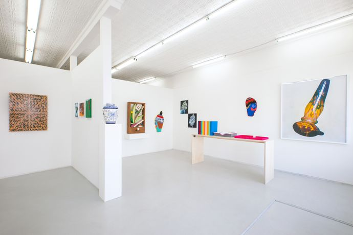 Installation view of Dutch Masters, (pictured left to right) Fred Tomaselli, Omari Douglin, Eduardo Sarabia, Chris Bogia, Caroline Wells Chandler, Brian Willmont and Matthew Spiegelman